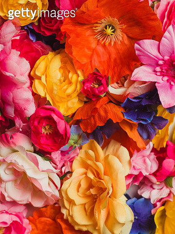 Flower Immersion still life background of textile flowers
