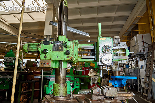 Old drilling machine at the factory