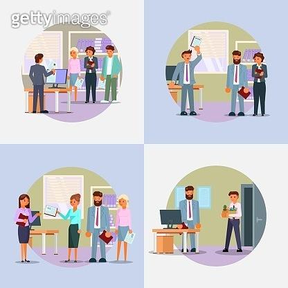 Hiring process icon set vector flat illustration