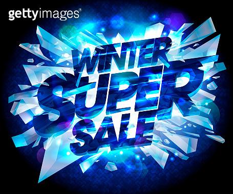 Winter super sale advertising vector poster