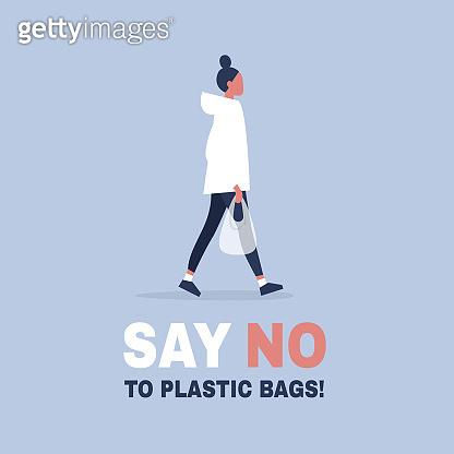 Say no to plastic bags. Ecology conversation. Eco friendly behaviour. Flat editable vector illustration, clip art
