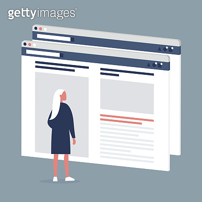Female Internet user visiting a webpage. Lifestyle media. Website layout. Content. Technology. Flat editable vector illustration, clip art