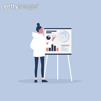 Data analysis. Optimization. Young character presenting the research report. Flat editable vector illustration, clip art