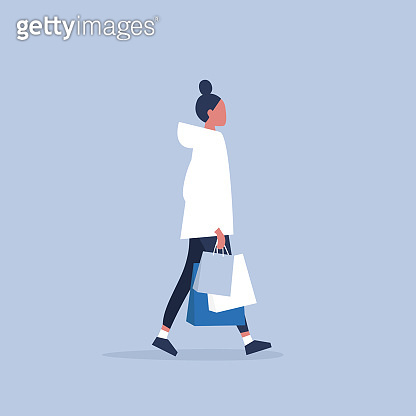 Young female character holding a bunch of paper bags. Shopping. Millennial consumer. Flat editable vector illustration, clip art