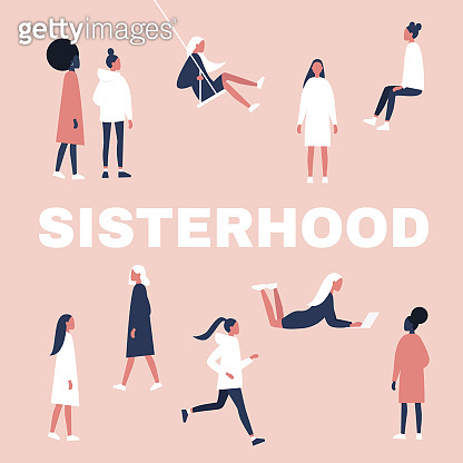 Sisterhood. Woman, girl. Gender equality. Feminism. Set of female characters in different poses. Flat editable vector illustration, clip art.