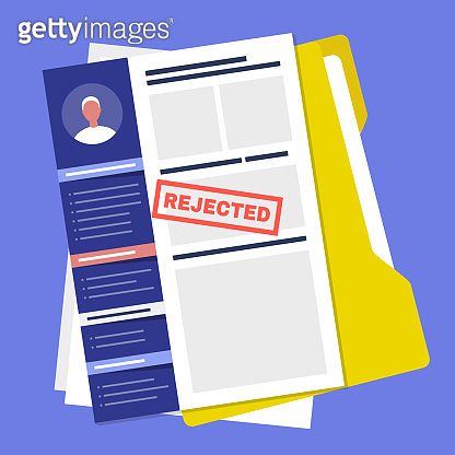 Applying for a job. Rejected. Failure. Experience and skills. CV. Curriculum vitae / flat editable vector illustration, clip art