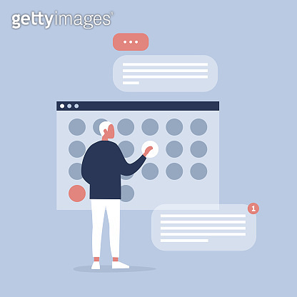 Young manager planning the project in digital calendar. Organising the working process. Deadlines. Office life. Flat editable vector illustration, clip art