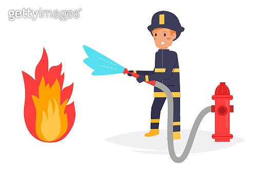 Firefighter extinguishes the fire