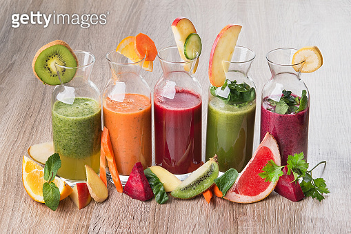 Set of detox juice fresh drinks