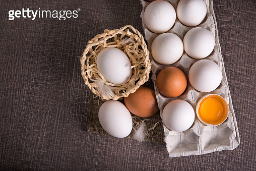 raw egg in a tray