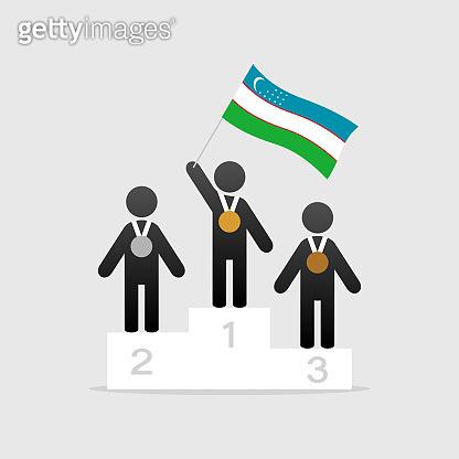 Champion with uzbekistan flag on winner podium