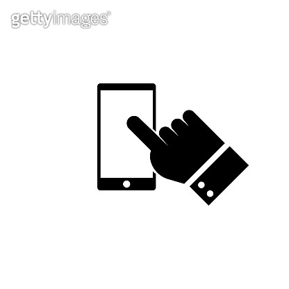 Smart phone, hand, finger clicking vector