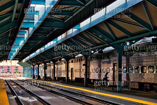 Metra train on track in Ogilvie Northwestern Train Station in Chicago
