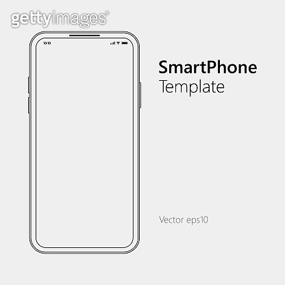 White slim smartphone with blank screen. Vector outline flat technology illustration.