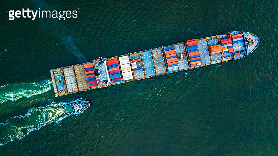Container Cargo ship import and export business, Freight Transportation import export logistic.