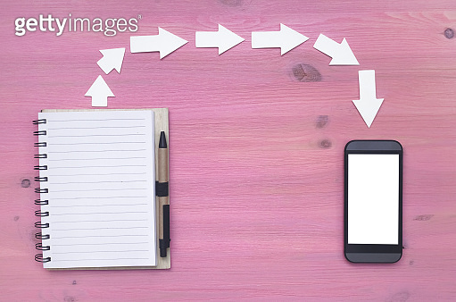Blank screen mobile phone and note pad with empty pages on purple wooden desk background.