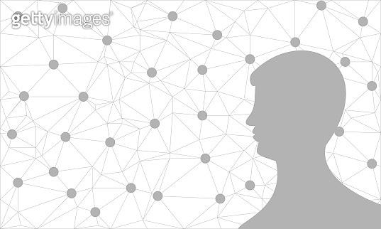 Silhouette of a man's head. Mental health relative vector brochure.