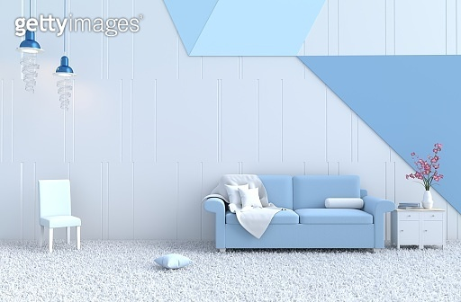 White living room decor with blue sofa, white-blue wall, orchid, carpet, lamp, fabric, chair, flower. Christmas's day, new year and happy room. 3D render.