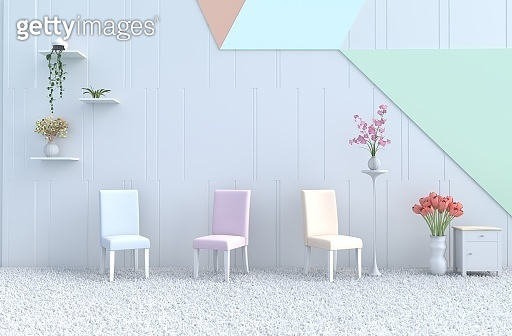 White pastel living room decor with pastel chair, pastel wall, orchid, tulip, rose, carpet. Christmas's day, new year and happy room. 3d render.