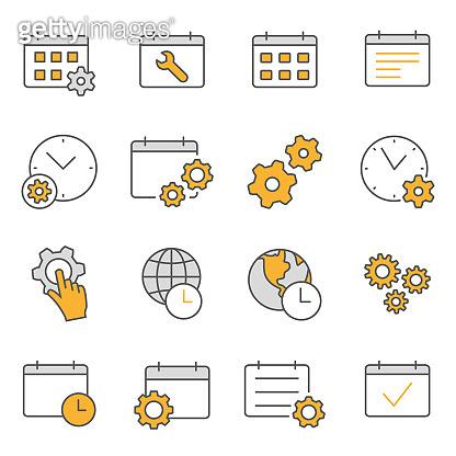 Settings calendar flat line icon set. Vector illustration. Editable stroke.