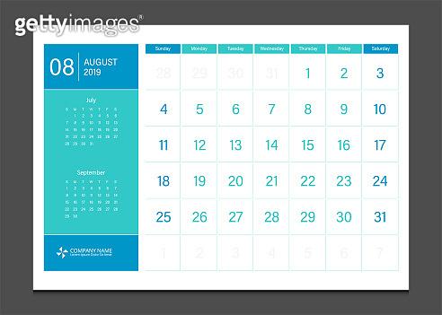 Calendar 2019 August week start Sunday corporate business modern design layout template vector.