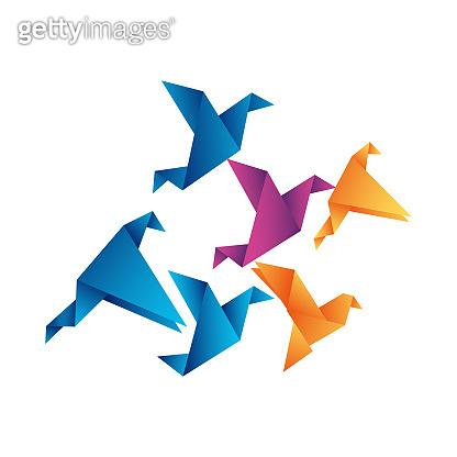 Abstract bird origami flying. Vector illustration.