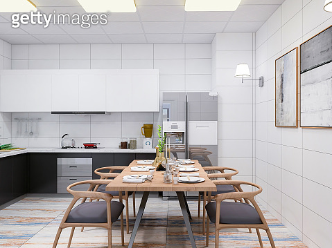 Modern apartment kitchen, solid wood dining table and dining chair in a spacious room, solid wood custom rail and refrigerator, various tools neatly placed
