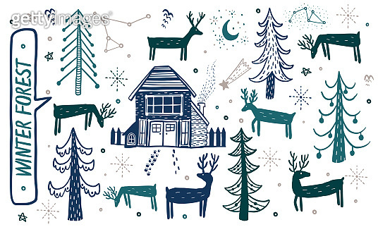 Vector hand drawn forest winter set. Elements for the design of Christmas pine, spruce, deer, house forester. Doodle style.