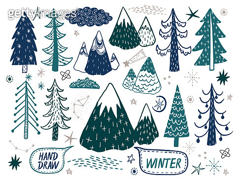Vector hand drawn forest winter set. Elements for the design of pine, spruce, mountain. Doodle style.