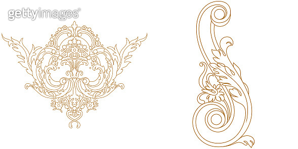 Golden vintage baroque ornament, corner. Retro pattern antique style acanthus. Decorative design element filigree calligraphy vector. - stock vectorr