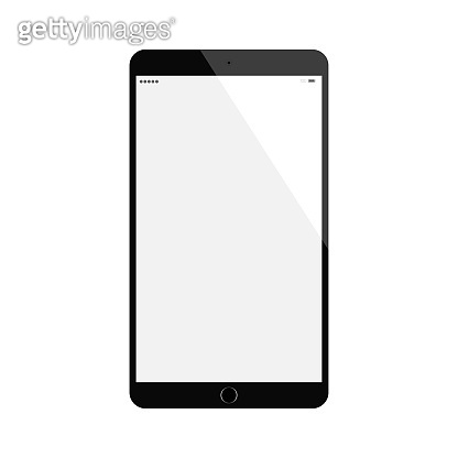 black tablet in ipad style with blank touch screen isolated on white background. vector illustration.