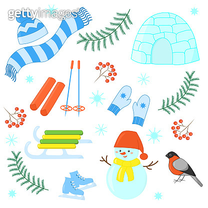 Vector set of winter games in the Christmas holidays