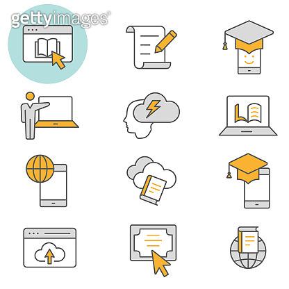 E-learning distance education flat line icon set. Vector illustration. Editable stroke.