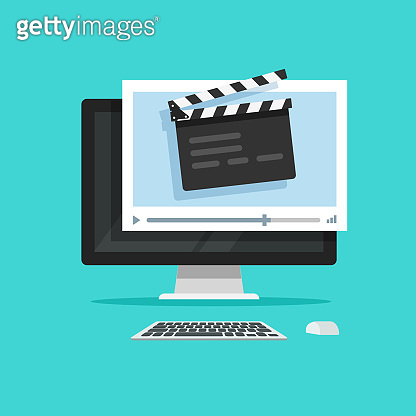 Movie or online cinema on computer concept vector illustration, flat cartoon style of clapper board video player on desktop pc, idea of video editor or film production, cinematography equipment
