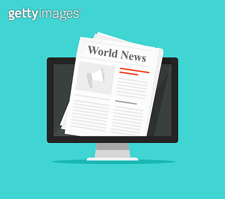 Newspaper on computer screen vector illustration, flat cartoon pc display with world news magazine on electronic device isolated clipart