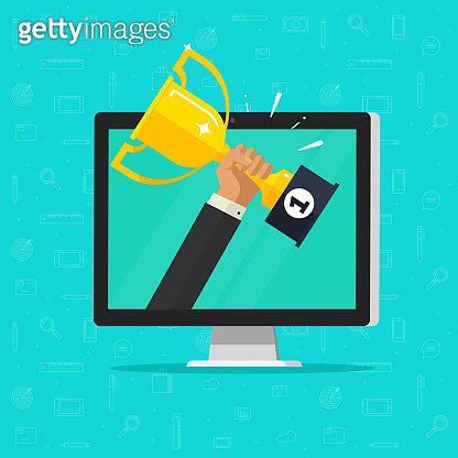 Online award goal achievement vector, flat cartoon computer and success winner holding golden cup prize, first place victory, competition winner, digital electronic reward, internet web champion