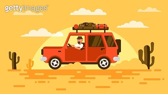 Bearded tourist in a hat, rides a car in desert.