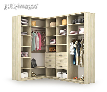 Wardrobe. Open closet with things. 3d illustration