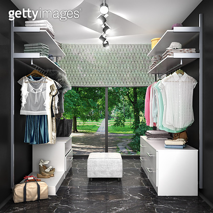 dressing room with a large window in black and white colors. 3d illustration