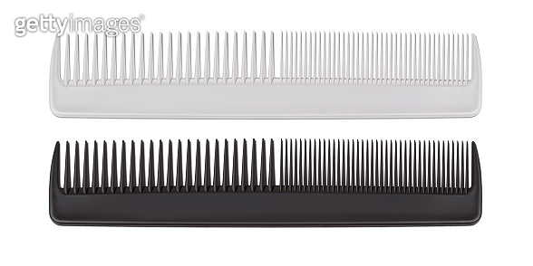 Vector. Mock Up. Black and White Set Comb for hair.