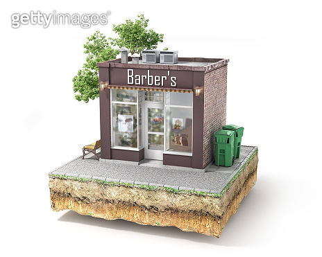 Business concept. Barbershop isolated on a white. 3d illustration