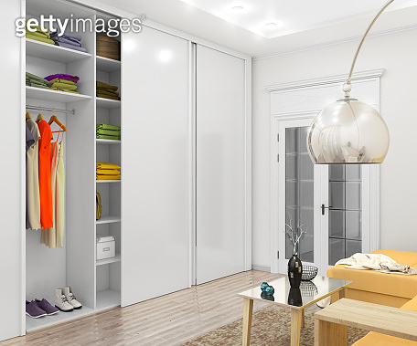 White cabinet with sliding doors. 3d illustration