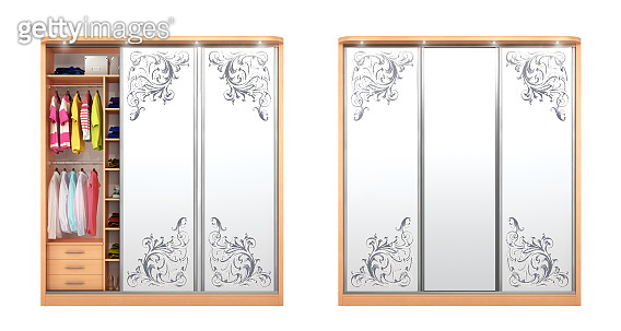 Wardrobe Coupe. Open closet with things isolated on a white background. 3d illustration