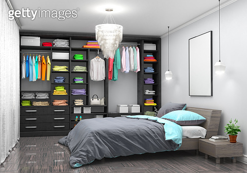 Spacious room with a bed, open doors and a large white wardrobe. 3d illustration