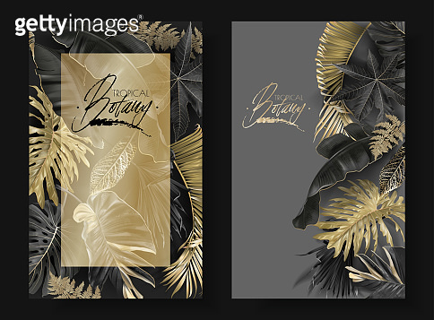 Tropical leaves black and gold botany banners