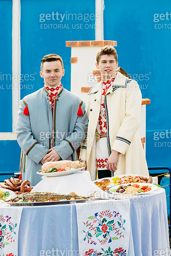 People in the national Belarusian costume. Gomel, Belarus