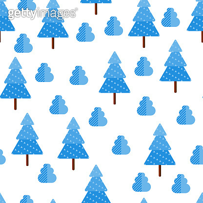 Vector Illustration. Seamless pattern with snow tree. Flat style. Background for winter poster
