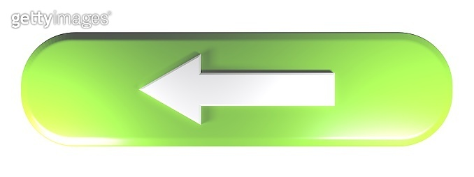 Green rounded rectangle push button with an arrow to the left - 3D rendering illustration