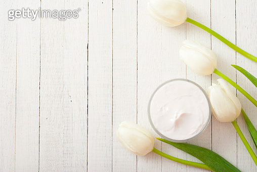 Moisturizer and flowers