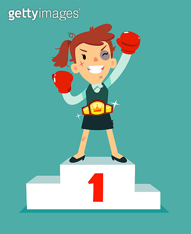 businesswoman in boxing gloves won the fight and wearing championship belt on podium